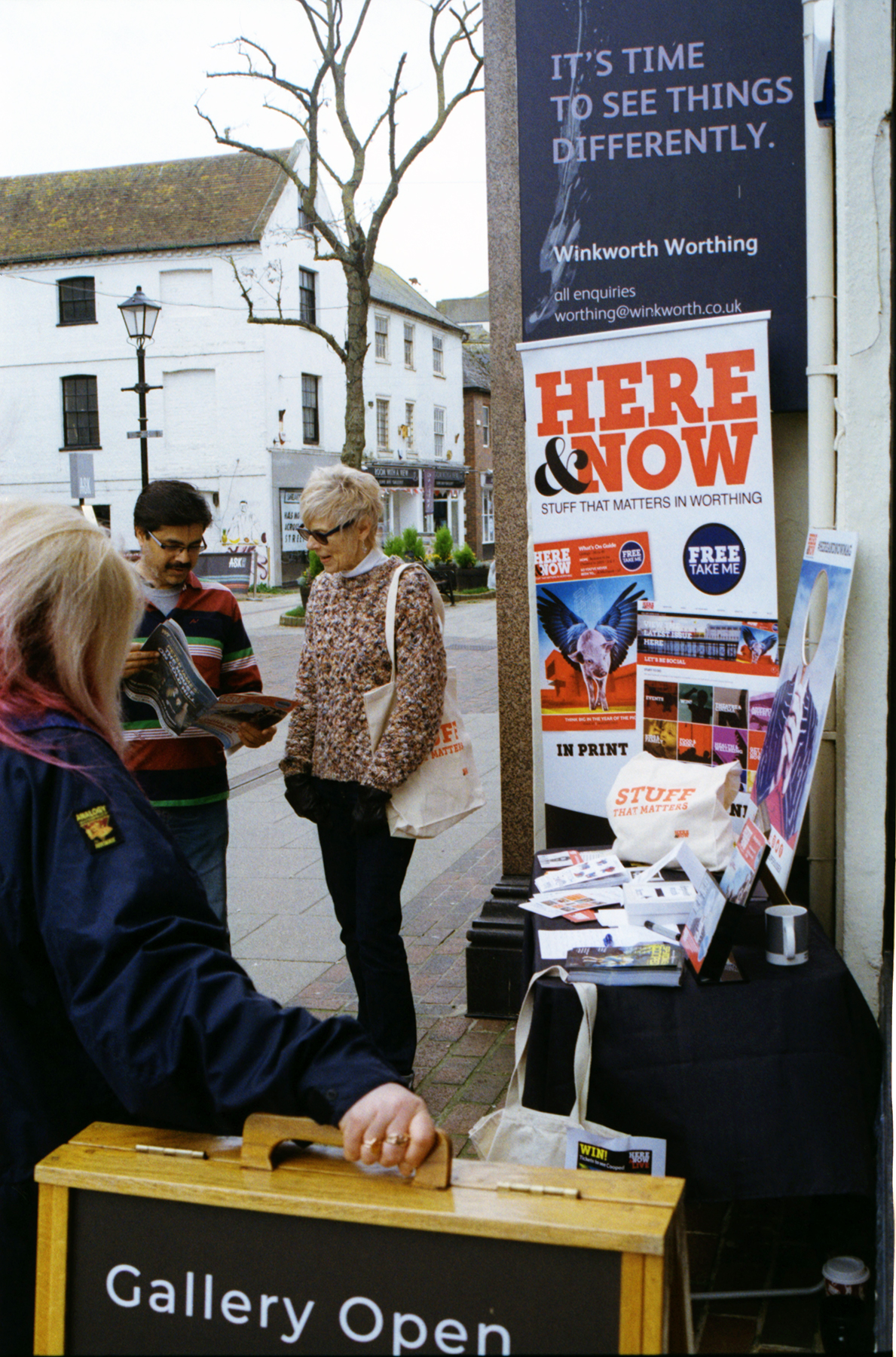 Promoting Here & Now outside Colonnade House